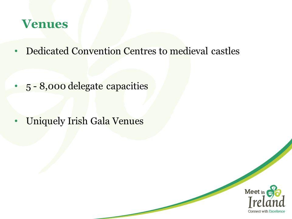 Dedicated Convention Centres to medieval castles 5 - 8,000 delegate capacities Uniquely Irish Gala Venues