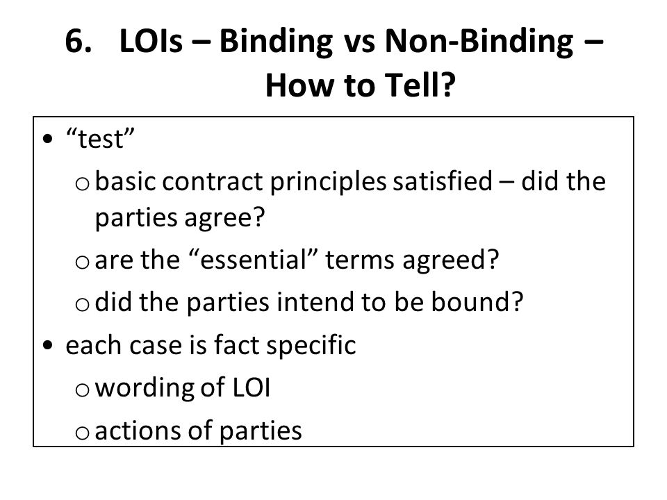 6.LOIs – Binding vs Non-Binding – How to Tell.
