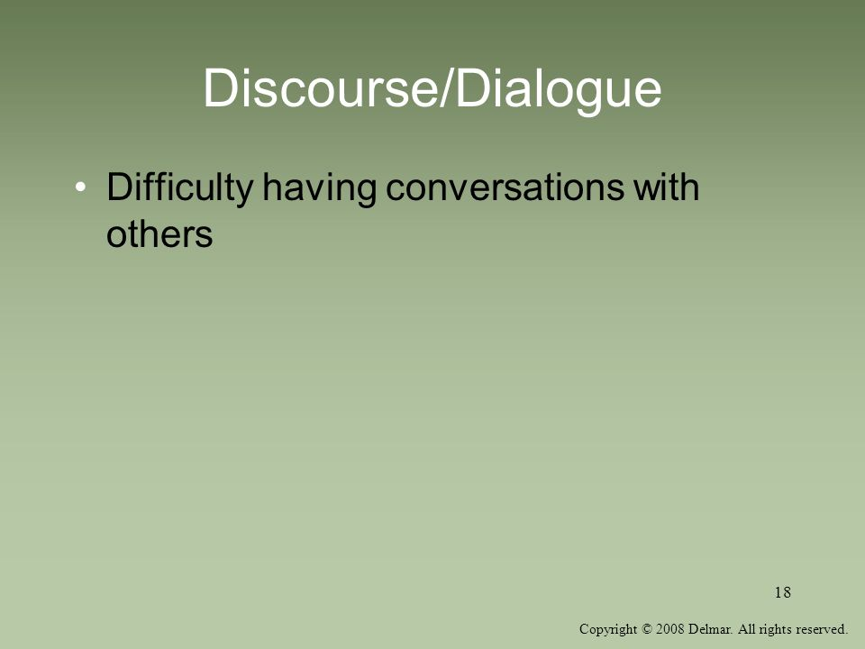 Copyright © 2008 Delmar. All rights reserved. 18 Discourse/Dialogue Difficulty having conversations with others