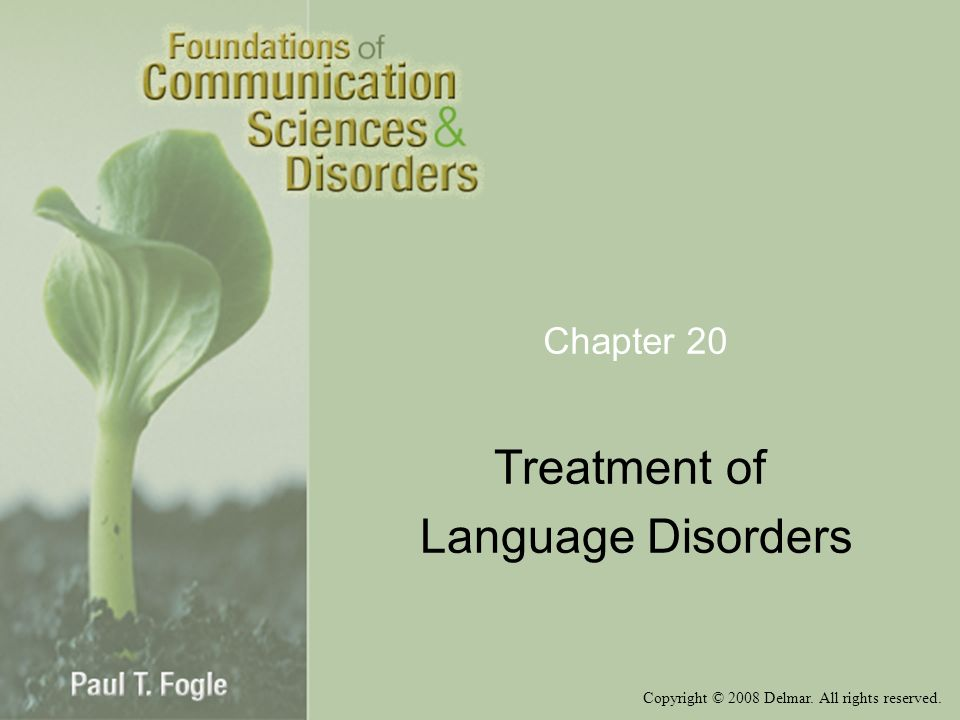 Copyright © 2008 Delmar. All rights reserved. Chapter 20 Treatment of Language Disorders