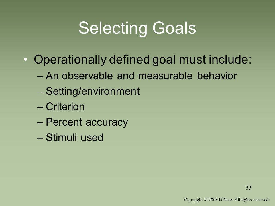 Copyright © 2008 Delmar. All rights reserved. 53 Selecting Goals Operationally defined goal must include: –An observable and measurable behavior –Sett