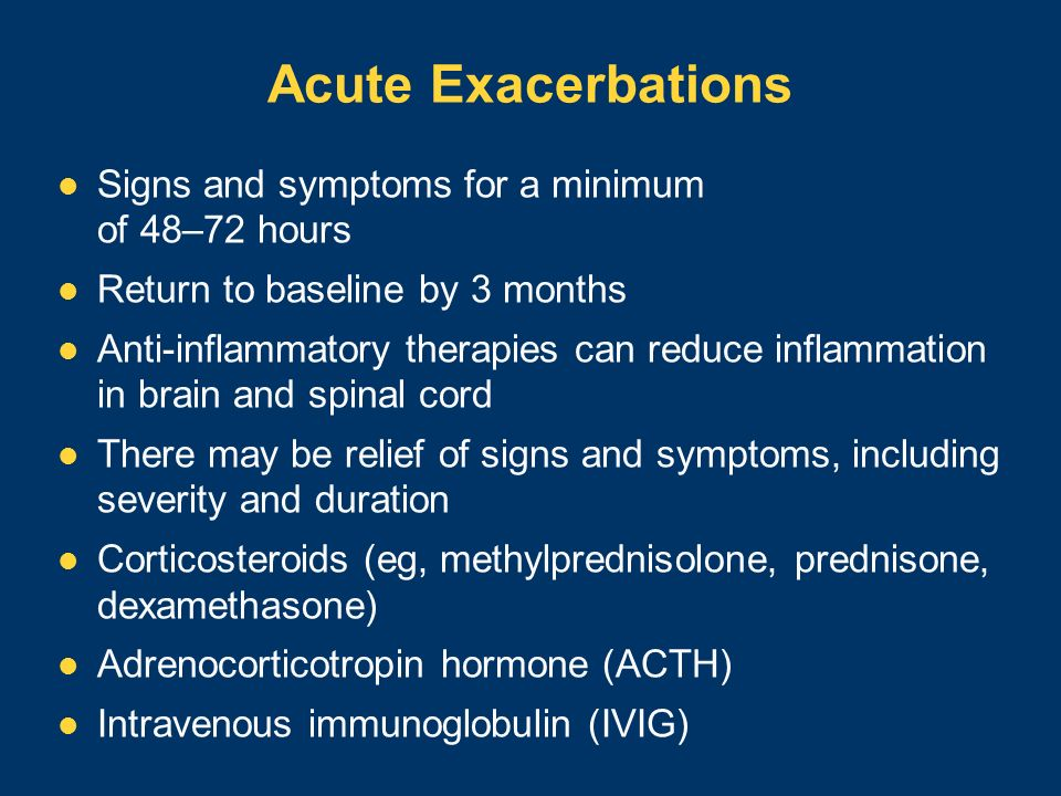 Acute Exacerbations Signs and symptoms for a minimum of 48–72 hours Return to baseline by 3 months Anti-inflammatory therapies can reduce inflammation