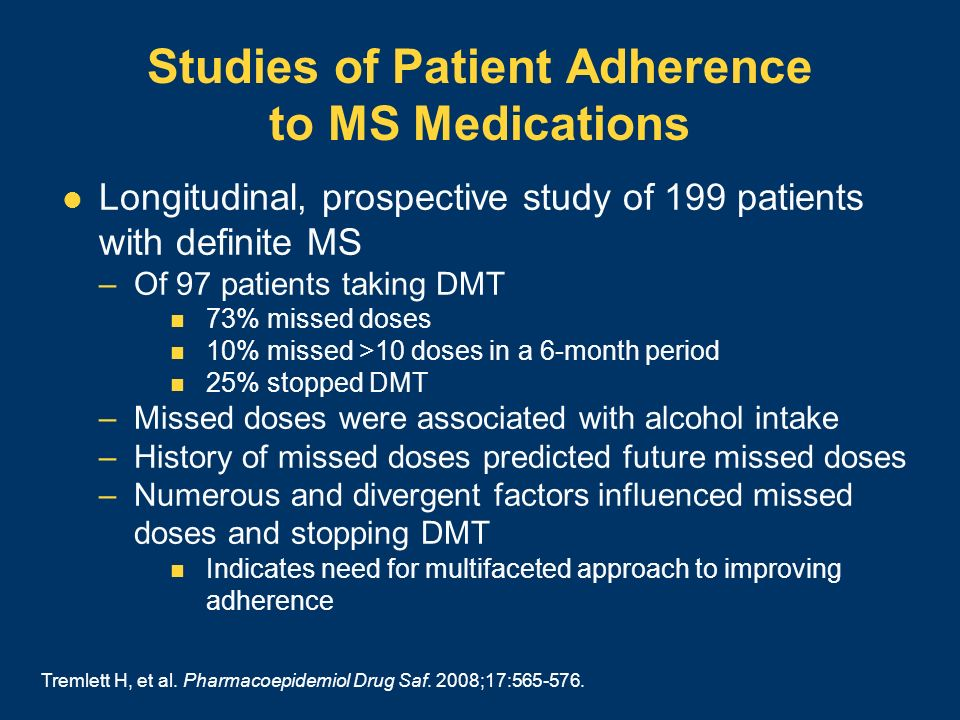 Studies of Patient Adherence to MS Medications Longitudinal, prospective study of 199 patients with definite MS –Of 97 patients taking DMT 73% missed