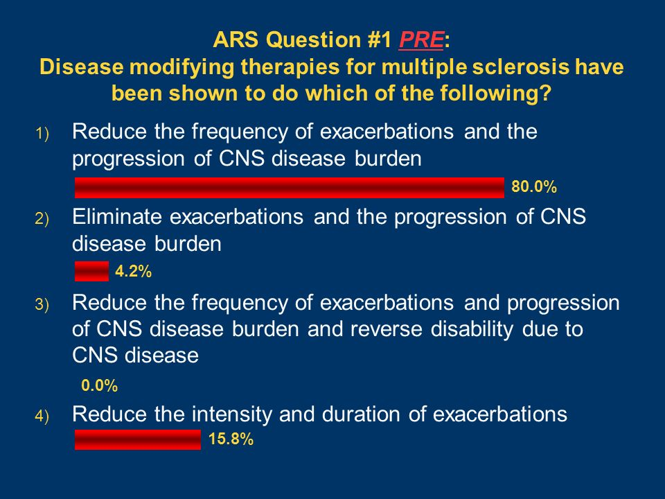ARS Question #1 PRE: Disease modifying therapies for multiple sclerosis have been shown to do which of the following? 1) Reduce the frequency of exace