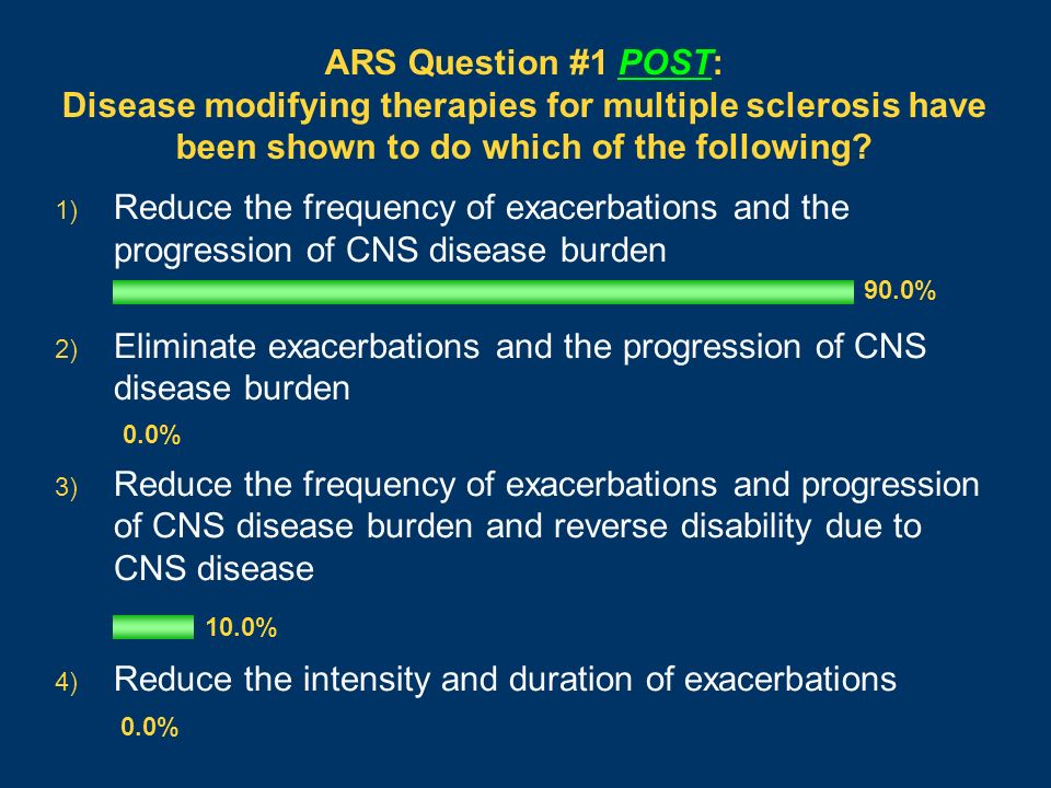 ARS Question #1 POST: Disease modifying therapies for multiple sclerosis have been shown to do which of the following? 1) Reduce the frequency of exac