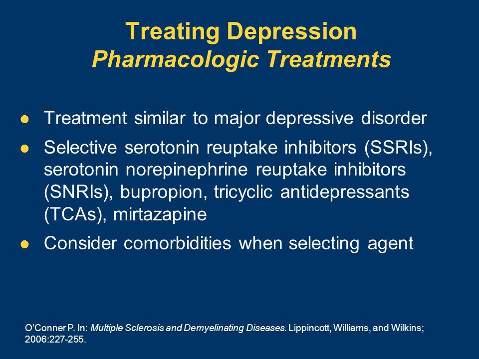 Treating Depression Pharmacologic Treatments Treatment similar to major depressive disorder Selective serotonin reuptake inhibitors (SSRIs), serotonin
