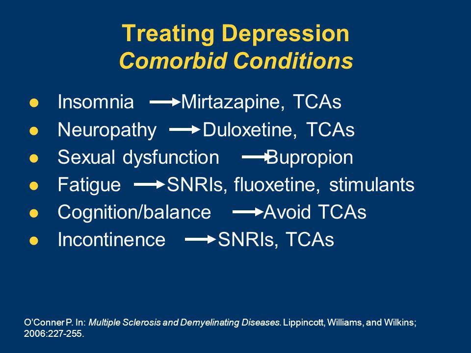 Treating Depression Comorbid Conditions Insomnia Mirtazapine, TCAs Neuropathy Duloxetine, TCAs Sexual dysfunction Bupropion Fatigue SNRIs, fluoxetine,