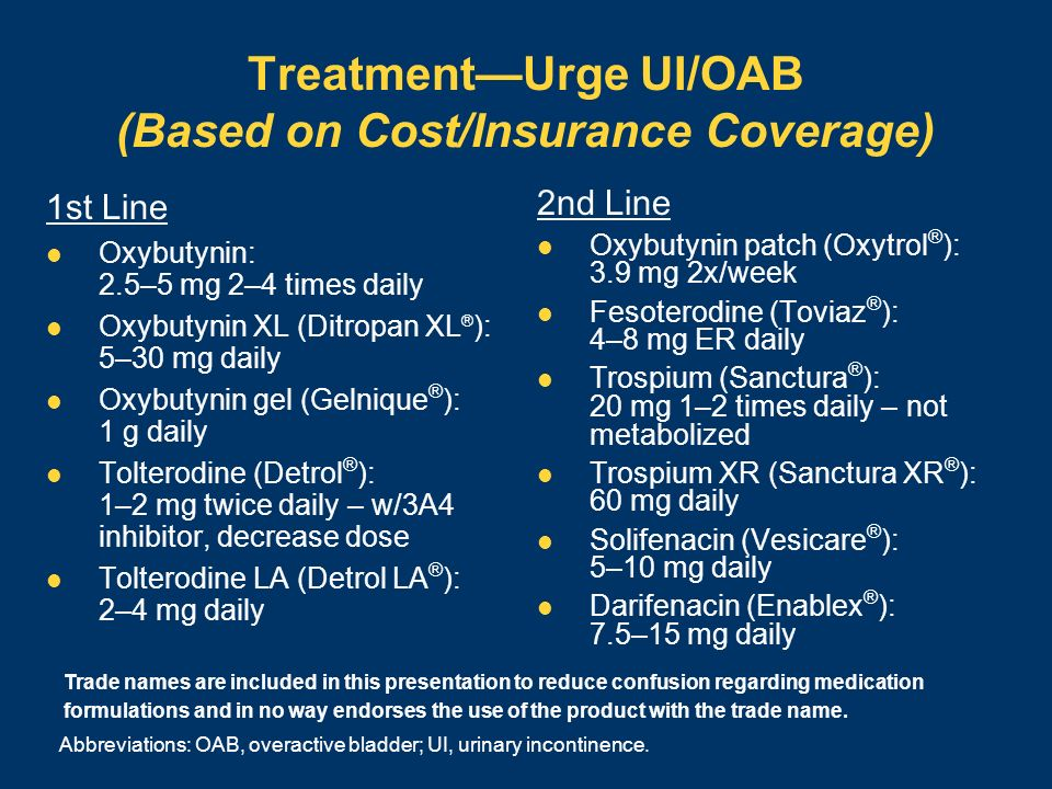 TreatmentUrge UI/OAB (Based on Cost/Insurance Coverage) 1st Line Oxybutynin: 2.5–5 mg 2–4 times daily Oxybutynin XL (Ditropan XL ® ): 5–30 mg daily Ox