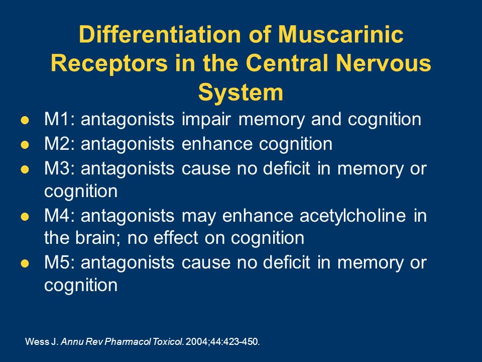 Differentiation of Muscarinic Receptors in the Central Nervous System M1: antagonists impair memory and cognition M2: antagonists enhance cognition M3