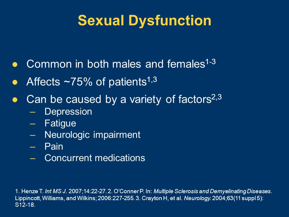 Sexual Dysfunction Common in both males and females 1-3 Affects ~75% of patients 1,3 Can be caused by a variety of factors 2,3 –Depression –Fatigue –N