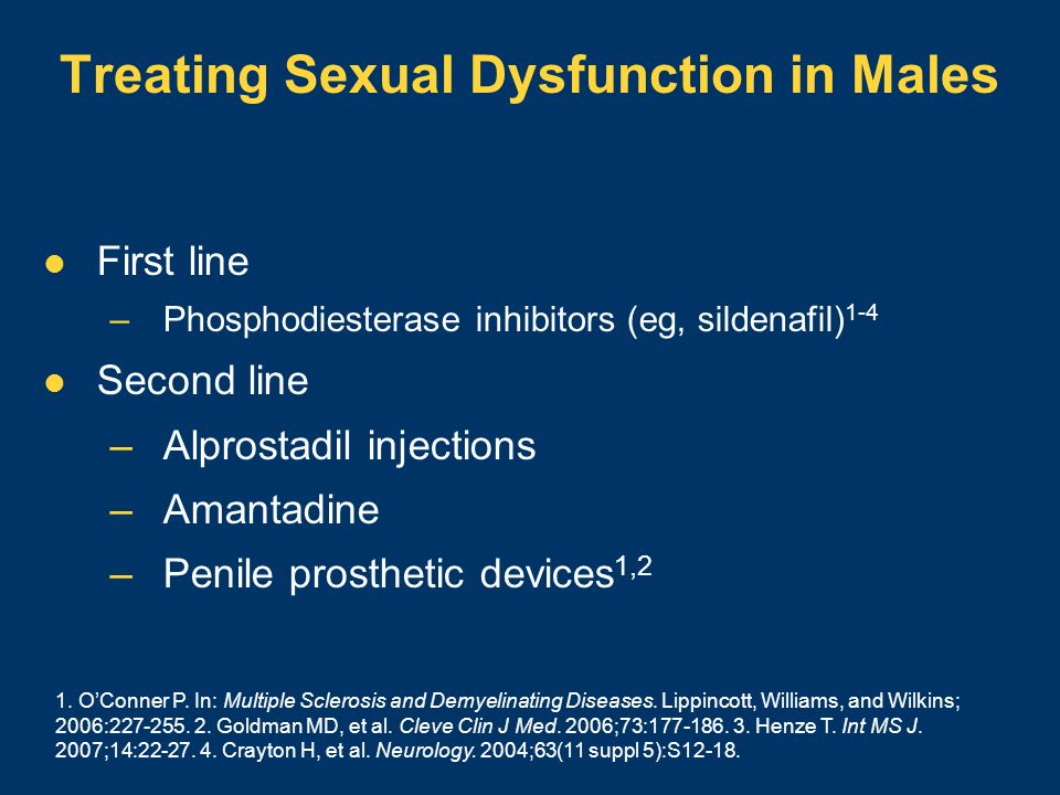 Treating Sexual Dysfunction in Males First line –Phosphodiesterase inhibitors (eg, sildenafil) 1-4 Second line –Alprostadil injections –Amantadine –Pe