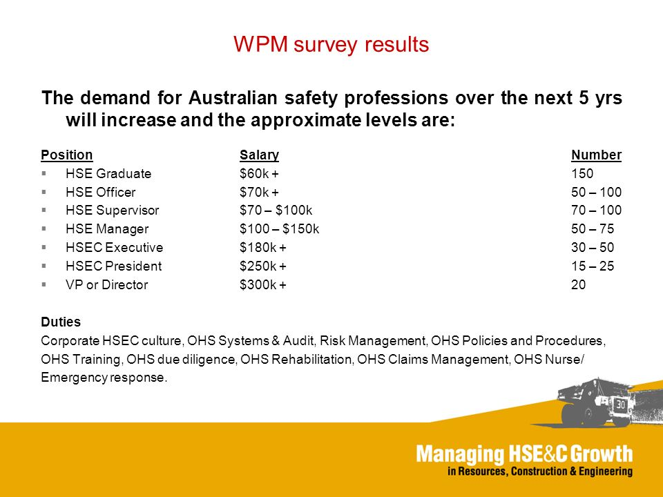 WPM survey results The demand for Australian safety professions over the next 5 yrs will increase and the approximate levels are: PositionSalaryNumber HSE Graduate$60k +150 HSE Officer$70k +50 – 100 HSE Supervisor$70 – $100k70 – 100 HSE Manager$100 – $150k50 – 75 HSEC Executive$180k +30 – 50 HSEC President$250k + 15 – 25 VP or Director$300k +20 Duties Corporate HSEC culture, OHS Systems & Audit, Risk Management, OHS Policies and Procedures, OHS Training, OHS due diligence, OHS Rehabilitation, OHS Claims Management, OHS Nurse/ Emergency response.