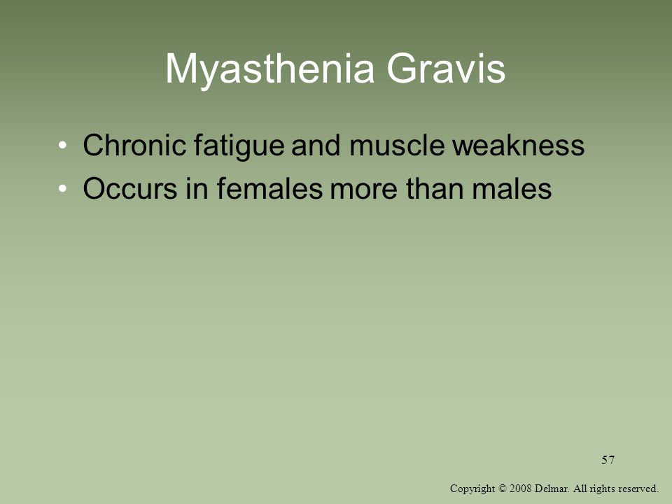 Copyright © 2008 Delmar. All rights reserved. 57 Myasthenia Gravis Chronic fatigue and muscle weakness Occurs in females more than males