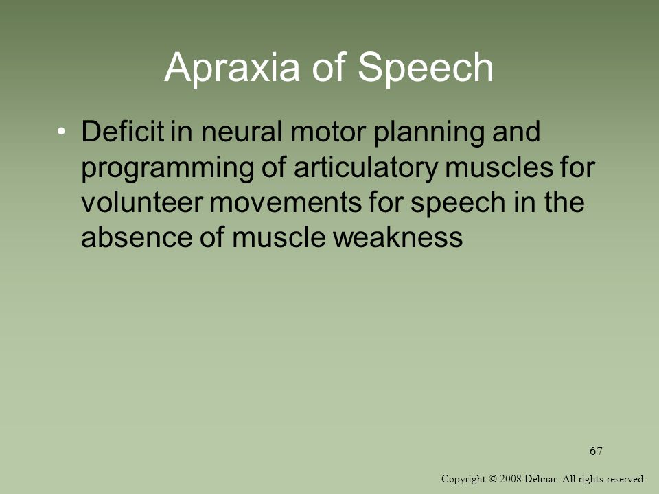 Copyright © 2008 Delmar. All rights reserved. 67 Apraxia of Speech Deficit in neural motor planning and programming of articulatory muscles for volunt