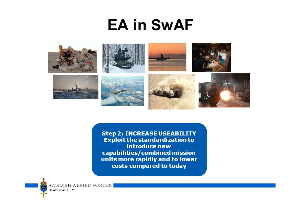 HEADQUARTERS EA in SwAF Step 2: INCREASE USEABILITY Exploit the standardization to introduce new capabilities/combined mission units more rapidly and