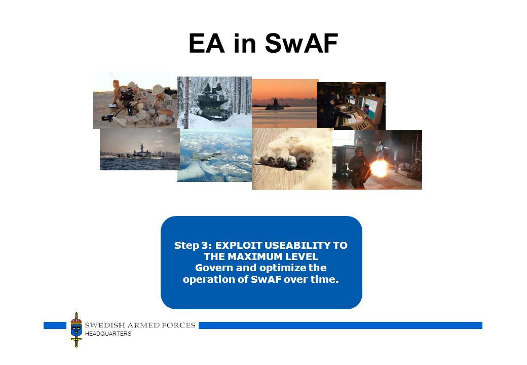 HEADQUARTERS EA in SwAF Step 3: EXPLOIT USEABILITY TO THE MAXIMUM LEVEL Govern and optimize the operation of SwAF over time.
