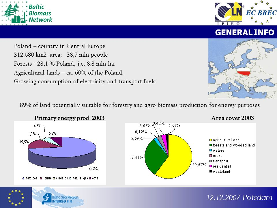 12.12.2007 Potsdam GENERAL INFO Poland – country in Central Europe 312.680 km2 area; 38,7 mln people Forests - 28,1 % Poland, i.e. 8.8 mln ha. Agricul