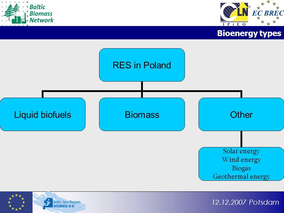 12.12.2007 Potsdam Bioenergy types RES in Poland Liquid biofuelsBiomassOther Solar energy Wind energy Biogas Geothermal energy