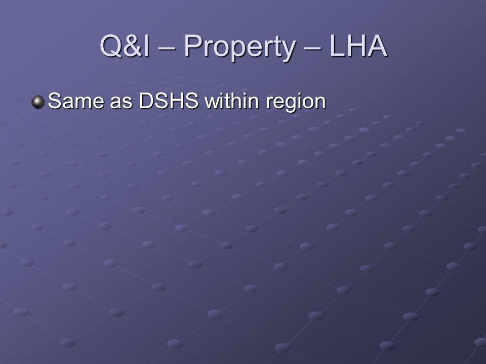 Q&I – Property – LHA Same as DSHS within region