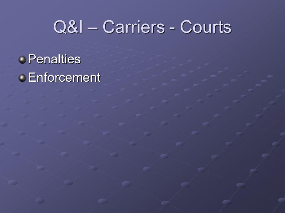 Q&I – Carriers - Courts PenaltiesEnforcement