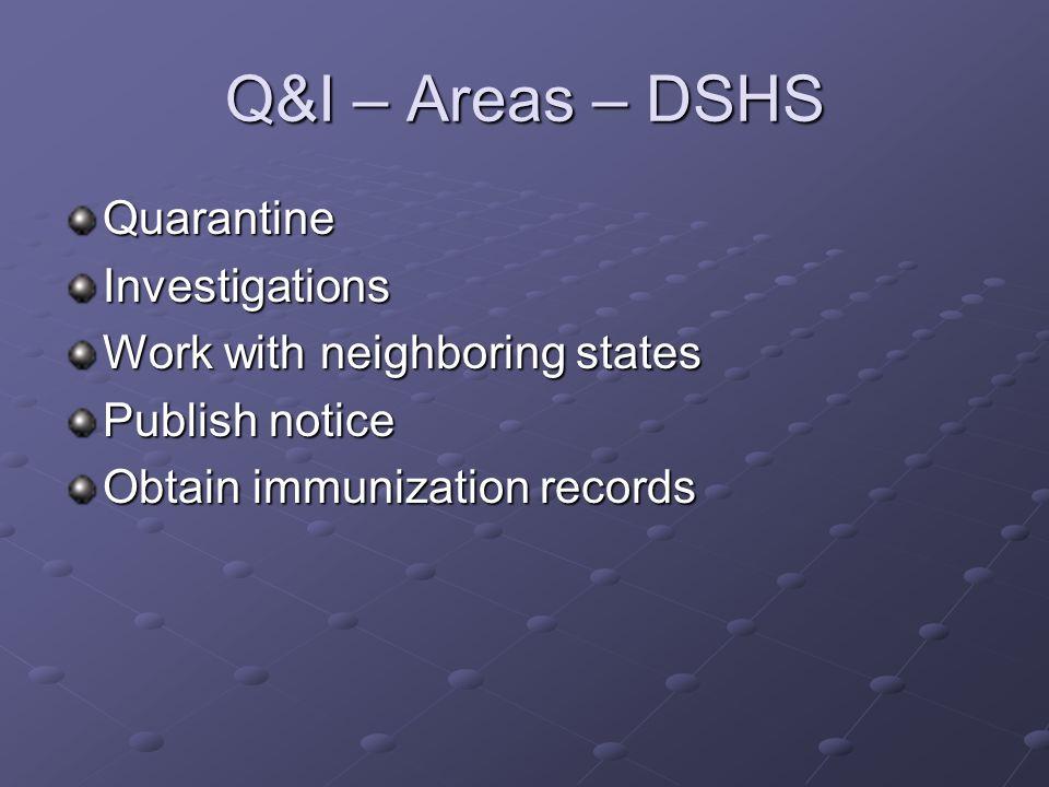 Q&I – Areas – DSHS QuarantineInvestigations Work with neighboring states Publish notice Obtain immunization records