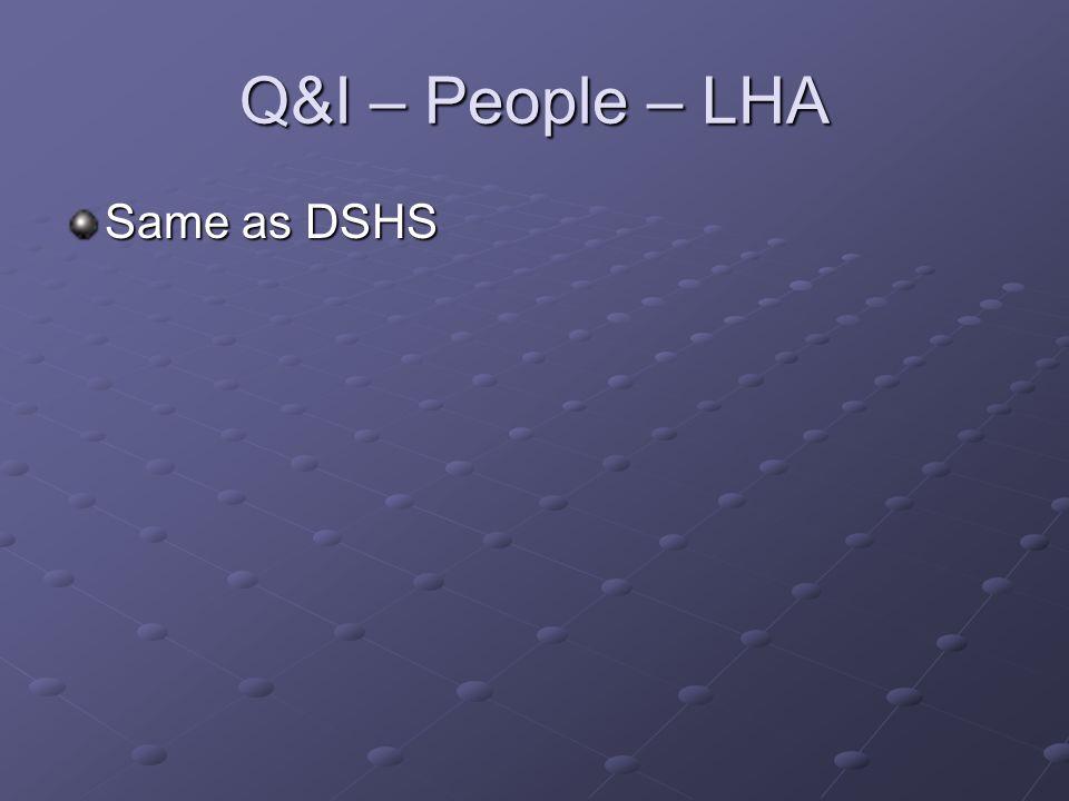 Q&I – People – LHA Same as DSHS