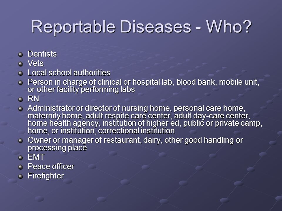 Reportable Diseases - Who.