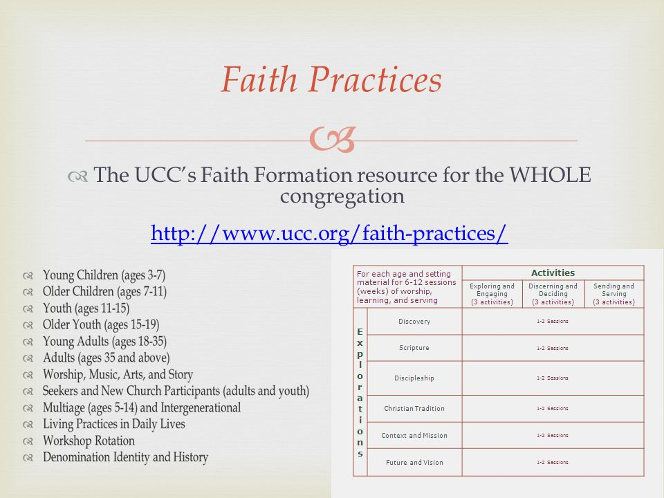 The UCCs Faith Formation resource for the WHOLE congregation http://www.ucc.org/faith-practices/ Faith Practices