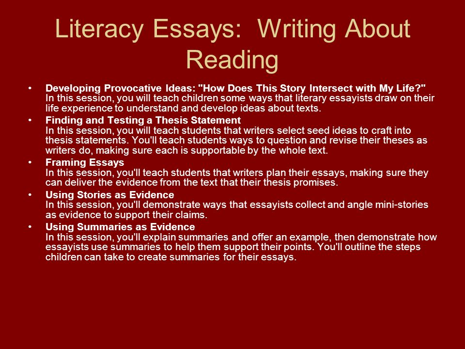 Literacy Essays: Writing About Reading Developing Provocative Ideas:
