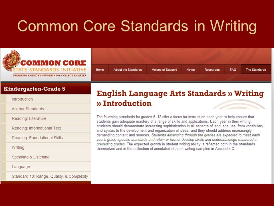 Common Core Standards in Writing