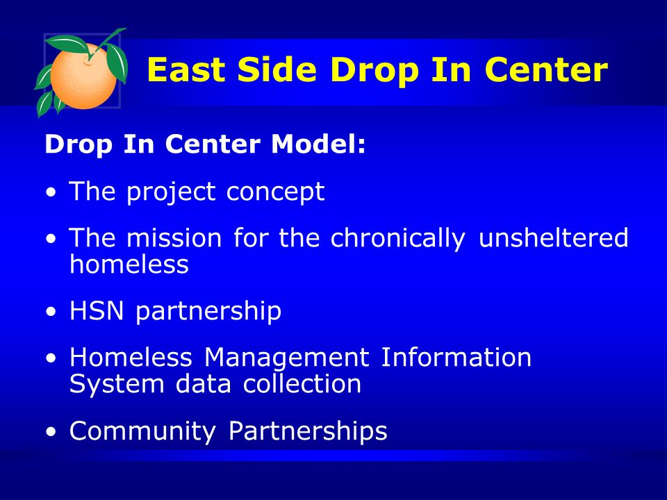 East Side Drop In Center Drop In Center Model: The project concept The mission for the chronically unsheltered homeless HSN partnership Homeless Management Information System data collection Community Partnerships