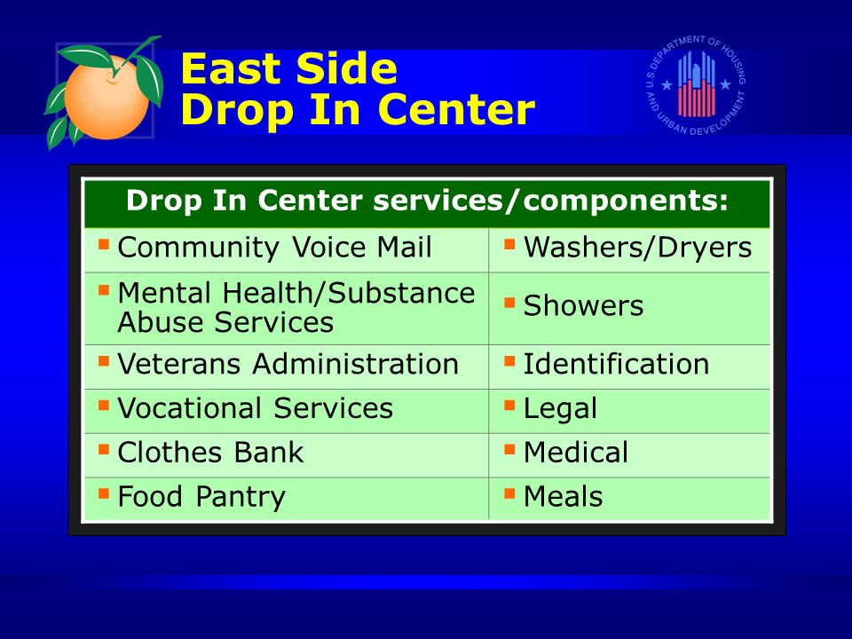 East Side Drop In Center Drop In Center services/components: Community Voice Mail Washers/Dryers Mental Health/Substance Abuse Services Showers Veterans Administration Identification Vocational Services Legal Clothes Bank Medical Food Pantry Meals