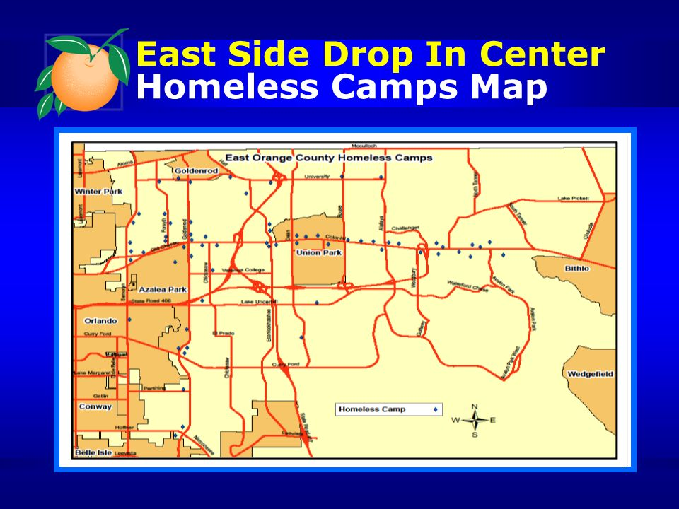 East Side Drop In Center Homeless Camps Map