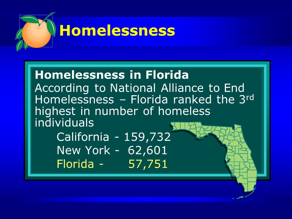 Homelessness Homelessness in Florida According to National Alliance to End Homelessness – Florida ranked the 3 rd highest in number of homeless individuals California - 159,732 New York - 62,601 Florida - 57,751