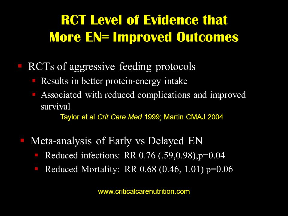 RCT Level of Evidence that More EN= Improved Outcomes RCTs of aggressive feeding protocols Results in better protein-energy intake Associated with red