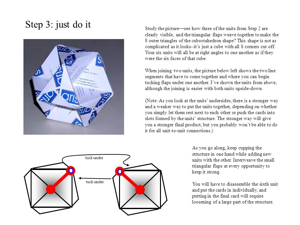 Step 3: just do it Study the picturesee how three of the units from Step 2 are clearly visible, and the triangular flaps weave together to make the 8 outer triangles of the cuboctahedron shape.