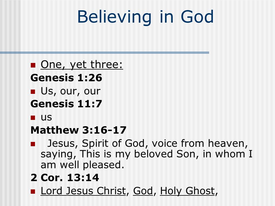 Believing in God The only God Deut.