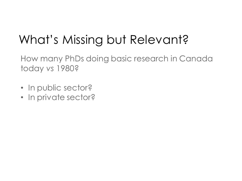 Whats Missing but Relevant. How many PhDs doing basic research in Canada today vs 1980.