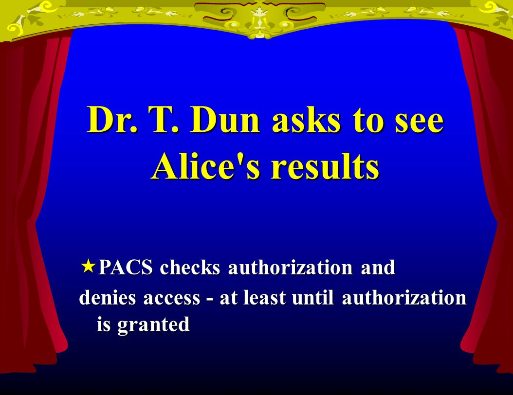 Dr. T. Dun asks to see Alice's results PACS checks authorization and PACS checks authorization and denies access - at least until authorization is gra