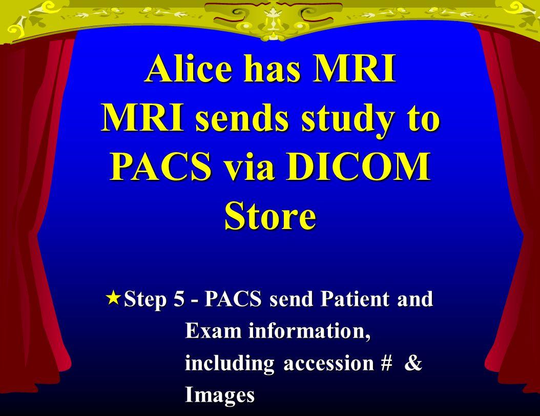 Alice has MRI MRI sends study to PACS via DICOM Store Step 5 - PACS send Patient and Step 5 - PACS send Patient and Exam information, Exam information, including accession # & including accession # & Images Images