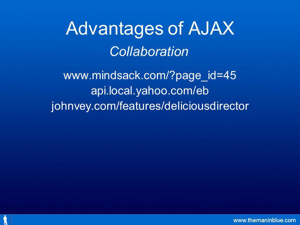 www.themaninblue.com Advantages of AJAX www.mindsack.com/ page_id=45 api.local.yahoo.com/eb johnvey.com/features/deliciousdirector Collaboration