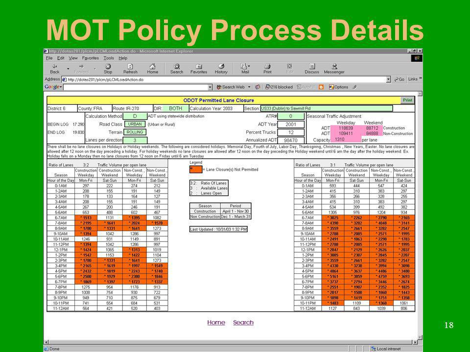 18 MOT Policy Process Details