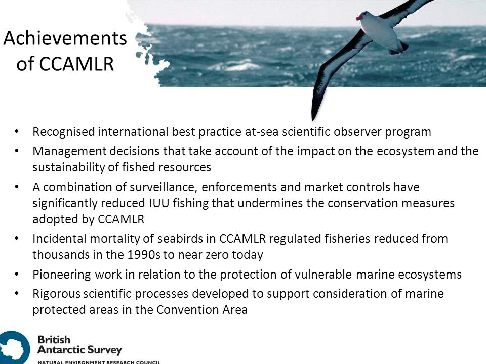 Achievements of CCAMLR Recognised international best practice at-sea scientific observer program Management decisions that take account of the impact