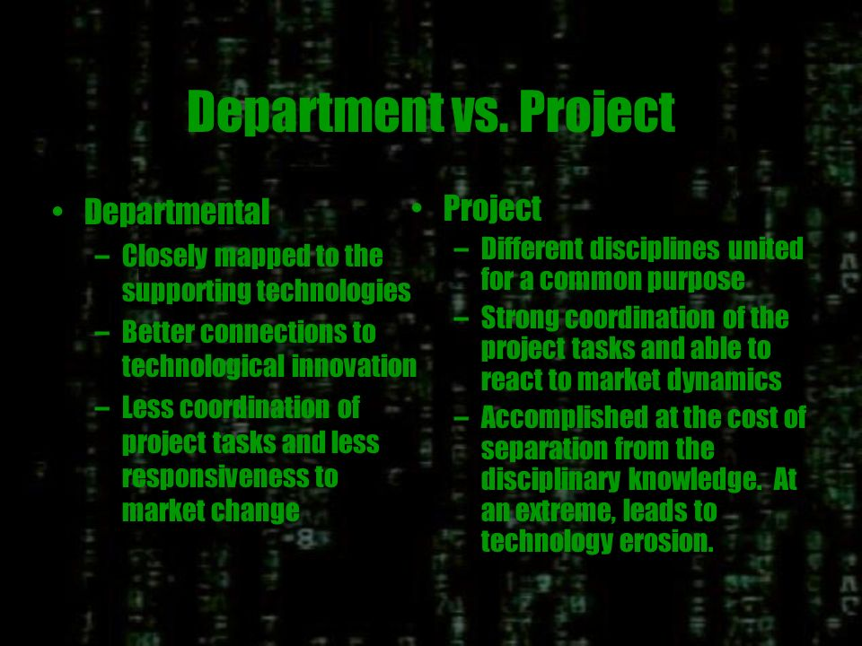 Project/Output Organization P1 Technology Market P2 P3