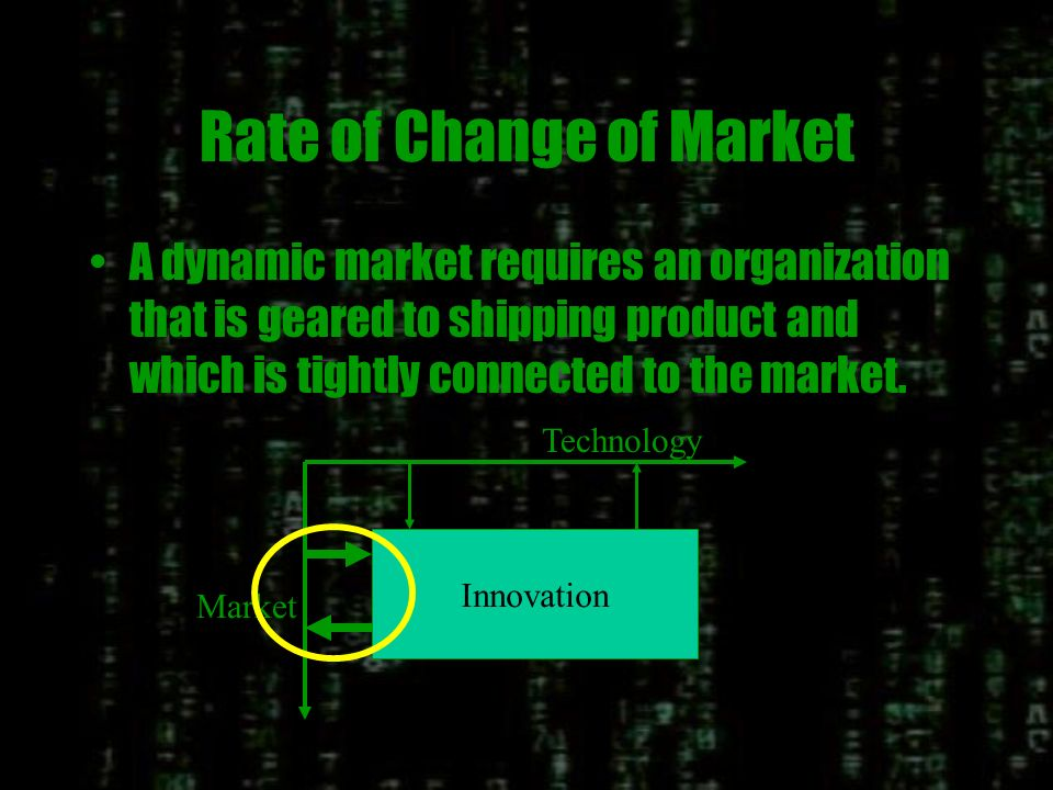 Rate of Change of Technology If Technology is changing rapidly, then there is a need to maximize the flow of technology knowledge. Technology Market I