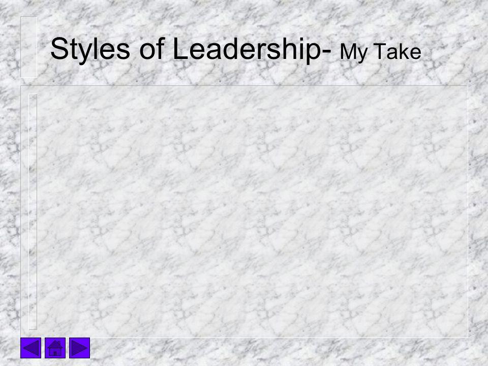 Styles of Leadership- My Take