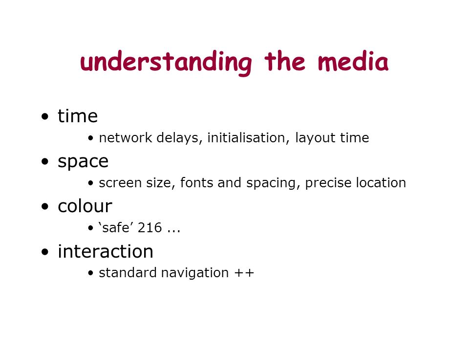 understanding the media time network delays, initialisation, layout time space screen size, fonts and spacing, precise location colour safe 216... int