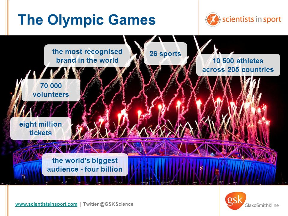 www.scientistsinsport.comwww.scientistsinsport.com | Twitter @GSKScience The Olympic Games the most recognised brand in the world the worlds biggest audience - four billion 10 500 athletes across 205 countries eight million tickets 26 sports 70 000 volunteers