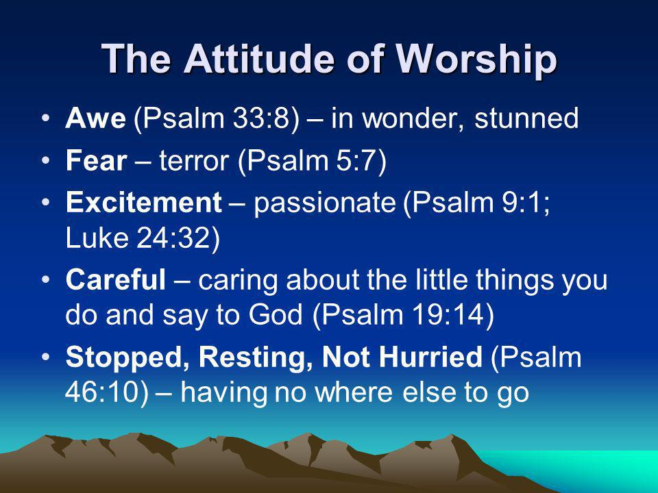 The Attitude of Worship Awe (Psalm 33:8) – in wonder, stunned Fear – terror (Psalm 5:7) Excitement – passionate (Psalm 9:1; Luke 24:32) Careful – caring about the little things you do and say to God (Psalm 19:14) Stopped, Resting, Not Hurried (Psalm 46:10) – having no where else to go