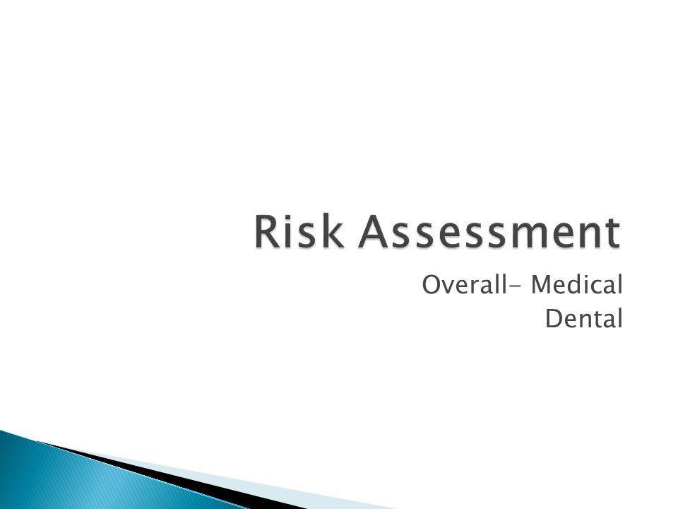 Risk Assessment Overall- Medical Dental